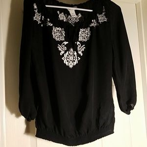 Peasant Style Black Blouse